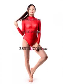 Red Silk Lace Transparent Leotard Zentai