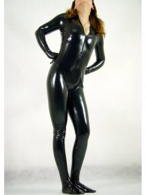 Black Shiny Sexy Catsuit With Front Zipper