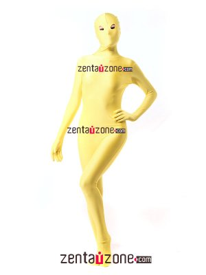Fashion Yellow Spandex Zentai Full Body Suit With Open Eyes