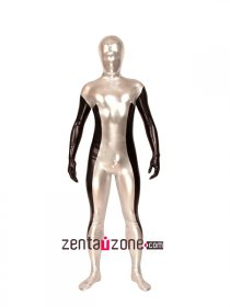 Silver Black Shiny Metallic Full Body Zentai