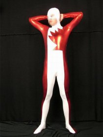 White And Red Shiny Metallic Zentai