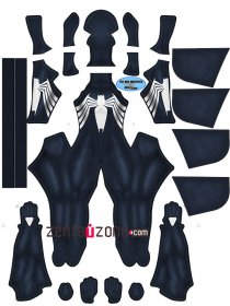 Custom Printed Lady Symbiote Zentai With Big Hood