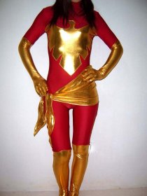 Red And Golden Super Hero Costume Shiny Zentai Suit