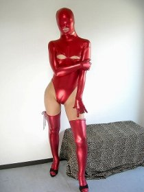 Red Shiny Metallic Leotard Catsuit