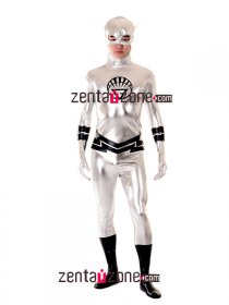 Cool White Lantern Shiny Metallic Superhero Zentai Costume