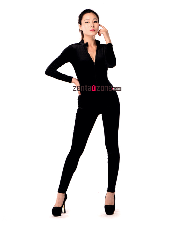 Black Velvet Catsuit With High Neck - Click Image to Close
