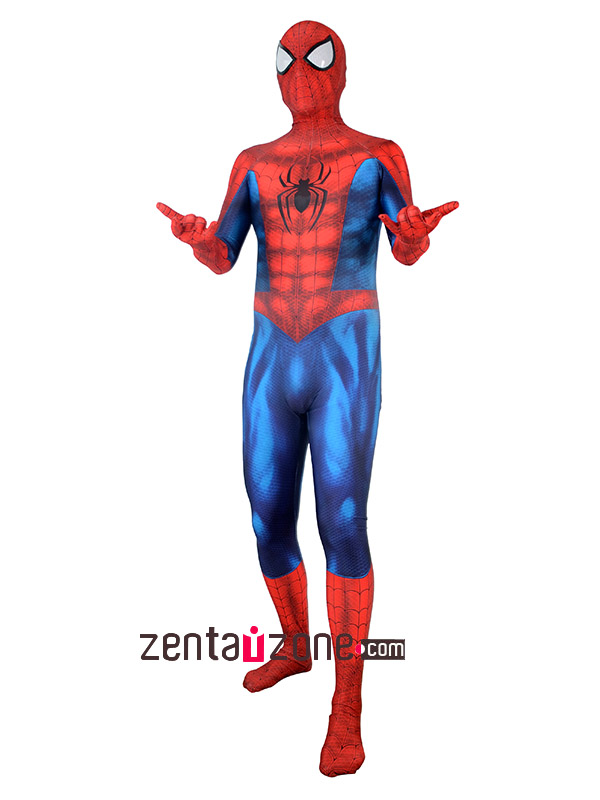 Custom Printed Spiderman Lycra Zentai Costume - Click Image to Close