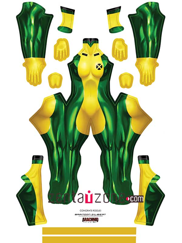 Custom Printed Rogue V2 Zentai Costume - Click Image to Close