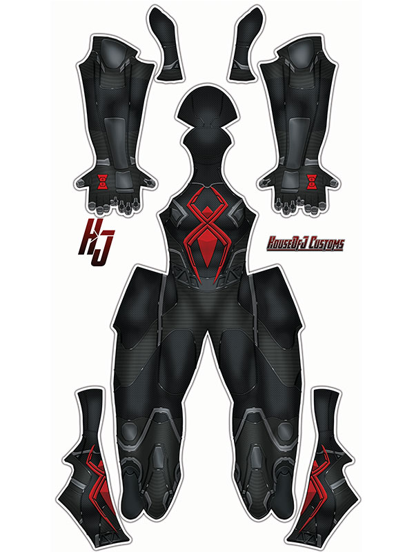 Custom Printed Dark Suit Spider-Man (Insomniac) Zentai - Click Image to Close